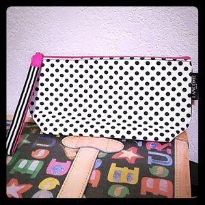 Lancome polka dot hot pink cosmetic makeup bag